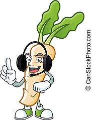 Horseradish cute cartoon character design with headphone. Vector illustration