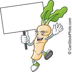 Horseradish cute cartoon character style bring board. Vector illustration