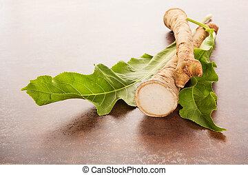 horseradish, raiz, com, leaf.