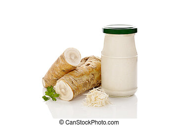 horseradish, raiz, e, sauce.