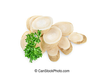 Horseradish root slices and parsley isolated on white background. Top view. Flat lay