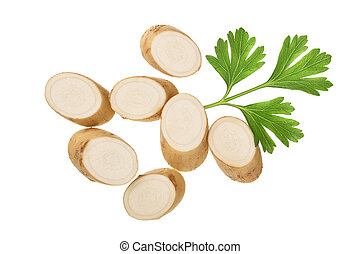 Horseradish root with slices and parsley isolated on white background. Top view. Flat lay