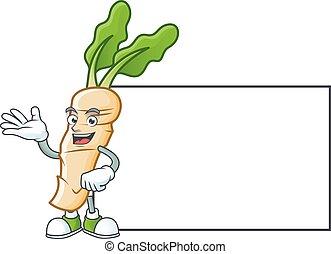 Horseradish with whiteboard cartoon character design style. Vector illustration