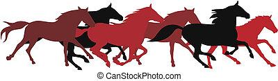 Abstract vector illustration of running horses