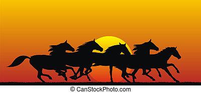 Horses - Abstract vector illustration of running horses