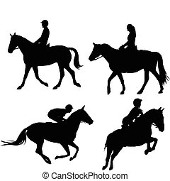 Horses and equestrians silhouettes - vector