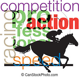 Horses and riders. Vector illustration