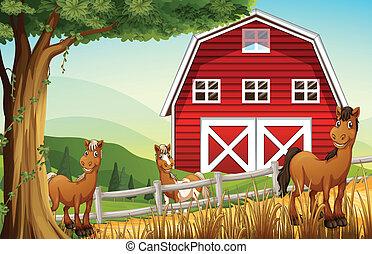 Horses at the farm near the red barnhouse - Illustration of...
