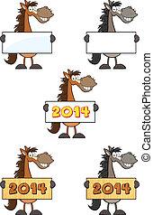 Horses Characters. Collection Set - Horses Cartoon Mascot...