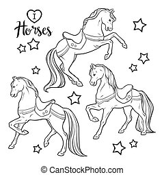horses., coloração, jogo, livro, páginas