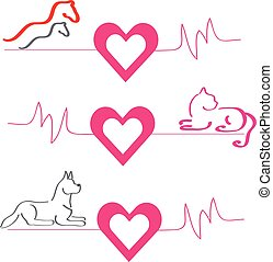 Horses, dog and cat with hearts on white background.