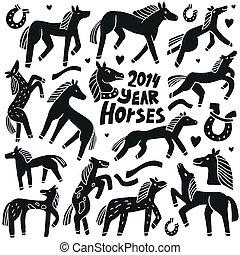 Horses - doodles set