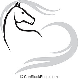 Emblem image of a beautiful horses muzzle with long mane and tail