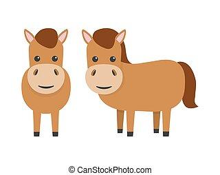 Horses flat character. Cute farm animals. Vector cartoon illustration isolated on white