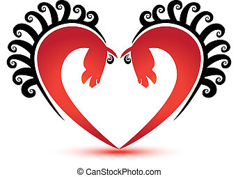 Horses heart shape logo vector