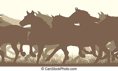 horses., illustration, troupeau