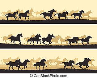 horses., ilustración, manada