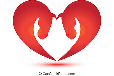 Horses in a heart shape vector