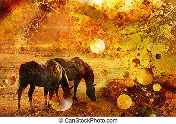 horses in a prairie
