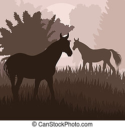 Horses in field vector background for poster