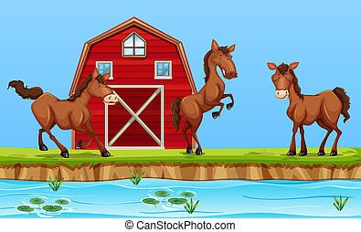 Horses in front of red barn