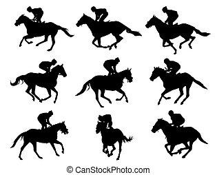 horses, jockeys, гоночный