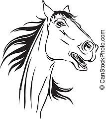 Horses neighs - Contour image of a beautiful neighing horse