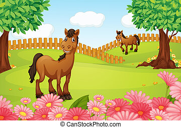 Horses on a field - Illustration of horses on a field in a...