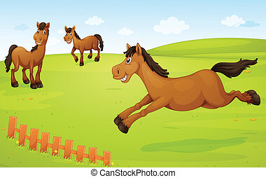 horses on meadow - illustration of three horses in a green...