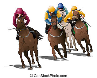 horses racing competition on isolated