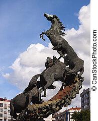 Horses sculpture in Spain Square in Vigo, Pontevedra, Galicia, Spain.