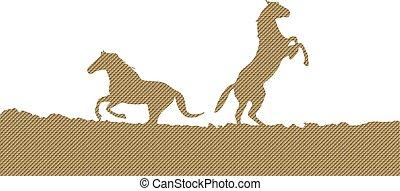 horses, silhouette