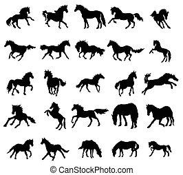 Horses silhouettes set