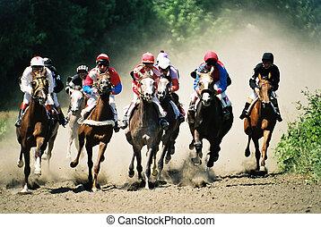 Sport. Horse race and Pyatigorsk hippodrome. Caucasus. Russia.