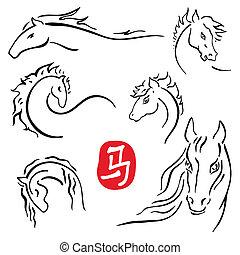 Horses symbols  collection. Chinese zodiac 2014.