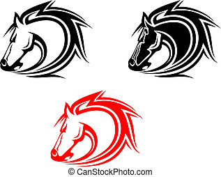 Set of horses tattoos isolated on white