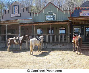 Horses tied to hitching posts - 3 horses tied to hitching ...