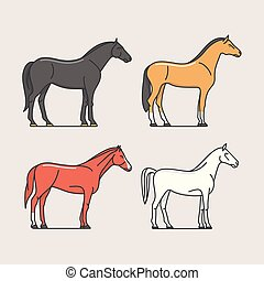 Horses, vector illustration