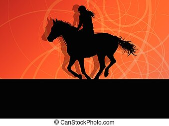 Horses with jockey equestrian sport vector background