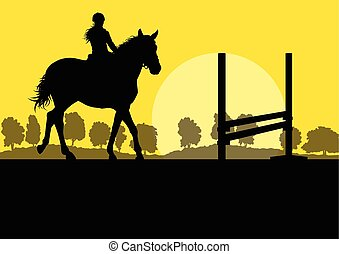 Horses with rider equestrian sport vector background