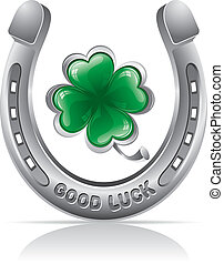 horseshoe and clover - Horseshoe and four leaf clover -...