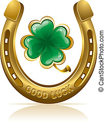 horseshoe and clover - Horseshoe and four leaf clover - ...