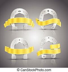 Horseshoe And Ribbon Concept Icons Set