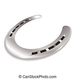 horseshoe angle - Silver horseshoe laying at an angle with a...