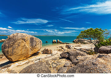 Horseshoe Bay at Bowen - iconic beach with granite rocks, north Queensland, Australia