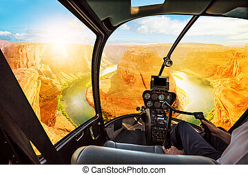 Horseshoe Bend Helicopter sunset