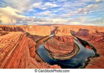 Horseshoe Bend on Colorado River at Sunrise, Utah