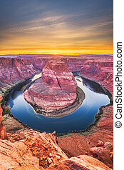Horseshoe Bend on the Colorado River at sunset