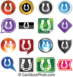 Horseshoe button isolated on a background.