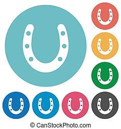Horseshoe flat round icons
